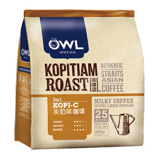 OWL 猫头鹰 炭烧系列 三合一速溶咖啡 奶味 500g(25条) *6件