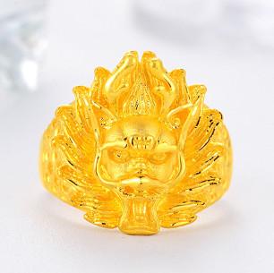 GOLD DRAGON 金龙珠宝 黄金戒指男士款 999足金龙头戒指霸气活口男戒 约11.90-11.95克     GR128D