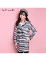 拉夏贝尔Candie's秋新款时尚条纹双排扣西装领风衣外套女30054042