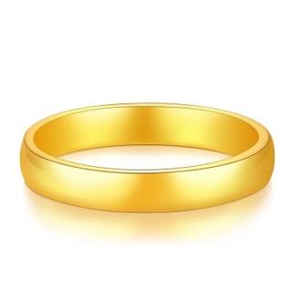 汉秀 黄金戒指女男款999足金情侣对戒一对3D硬金指环光面个性结婚 12号一只(约2.05g)     HJ0031