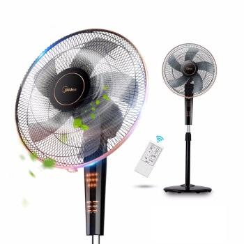 Midea 美的 电风扇落地立式静音智能双遥控家用定时落地扇柔风摇头电扇 FS40-13CR