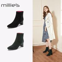 millie's/妙丽冬季专柜同款羊绒时尚切尔西靴粗跟女短靴LP247DD8
