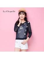 拉夏贝尔Candie's印花纯色透视防晒衣九分袖针织衫女薄30062118
