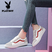 花花公子时尚休闲女鞋 学生系带板鞋拼色韩版潮流百搭小白鞋 1486 白红 37 *3件