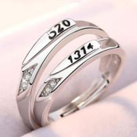 Dirholl 迪后 品牌情侣戒指日韩版925银饰品对戒活口一对  刻字 5201314情侣一对     GJ-0418