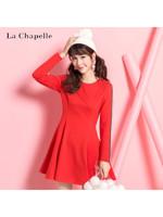 拉夏贝尔Candie's秋季新款韩版长袖休闲纯色圆领A字裙连衣裙女30064497