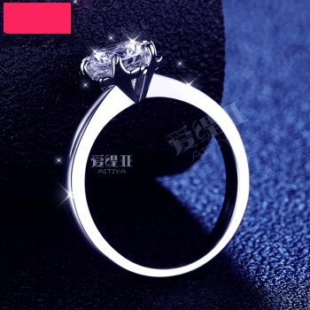 AITIYA 爱缇亚 莫桑石戒指女D色1克拉求婚结婚四爪钻戒高碳钻仿真钻石戒指情侣S925纯银指环18k金莫桑钻 0.6克拉莫桑石钻戒
