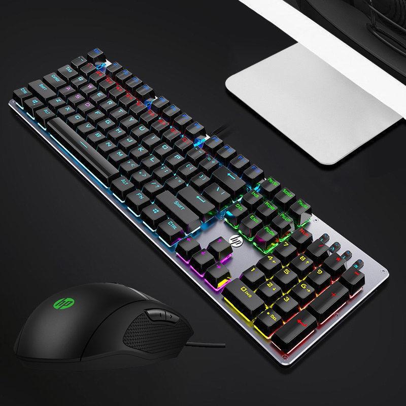 HP 惠普 GK100 104键 混光机械键盘 黑轴/青轴/茶轴 + 光影精灵 300 键鼠套装