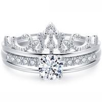 MZMZ 轻奢品牌戒指女镀铂金皇冠二合一可拆分镀玫瑰金指情侣紧箍咒 皇冠款-玫瑰金色    MZ90150
