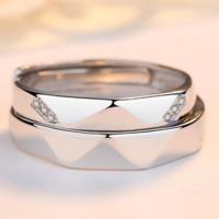 MZMZ 轻奢品牌彩金戒指情侣玫瑰金镀素圈一对男女925银开口刻字对戒    爱情魔方(玫瑰金色带钻)一对      MZLCYTMJ9595