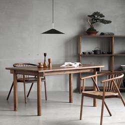 8折特惠NORHOR/ELMOOD手工实木家具/中式东方/YANG黑胡桃木西餐桌