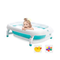 BIBILOVE宝宝浴盆婴儿洗澡盆可折叠可坐躺大号加厚便携浴桶0-6岁