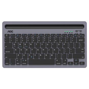 AOC KB701键盘 无线蓝牙键盘 办公键盘 静音超薄便携键盘 87键 平板IPAD笔记本苹果MAC电脑键盘 灰色 自营
