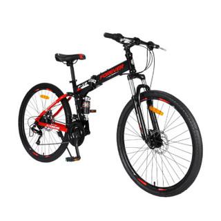 永久24变速自行车前后减震折叠山地车双碟刹软尾车架男女学生单车成人越野车 F18-1 黑红色
