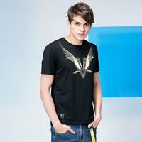 MagicPower男士短袖T恤男夏季新款 暗黑风印花体恤宽松百搭打底衫黑色S *3件