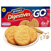 英国进口 麦维他(Mcvitie's) 全麦粗粮酥性原味消化饼干 6袋分享装176.4g