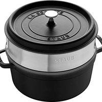 STAUB Cocotte/带盖蒸 锅 (26 cm, 5,0 L, 适用于电磁炉, 锅内带黑色哑光搪瓷) 黑色