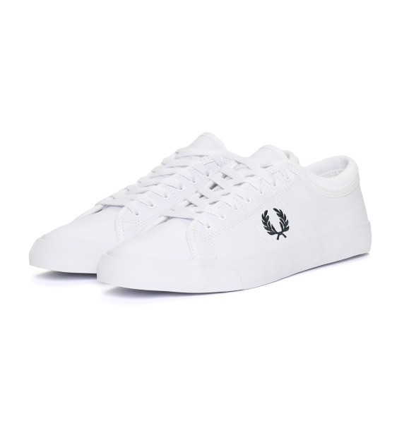 FRED PERRY 佛莱德·派瑞 Logo刺绣绑带休闲鞋 (白色、UK7)