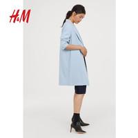 H&M女装风衣秋季新款 休闲时尚梭织面料直筒长外套 HM0639576
