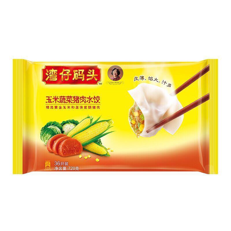 湾仔码头 玉米蔬菜猪肉水饺 720克