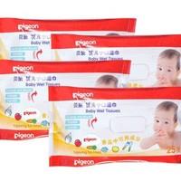 pigeon 贝亲 婴儿手口湿巾 25片*4包