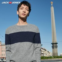 JackJones杰克琼斯秋冬男羊毛衫商务条纹休闲圆领针织衫毛衣青年