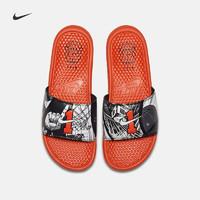 NIKE 耐克 CI1954 BENASSI JDI PRINT男子拖鞋夏季透气休闲鞋 (白黑橙、41)