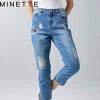 minette 30218242065 女士破洞牛仔裤