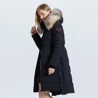 ochirly欧时力冬装貉子毛领连帽贴布羽绒外套1GZ3331970