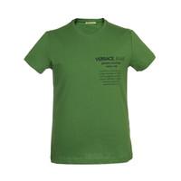VERSACE JEANS 范思哲 奢侈品 男士绿色棉质字母图案圆领短袖T恤 B3GTB76C 36610 130 XL码