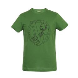 VERSACE JEANS 范思哲 奢侈品 男士绿色棉质胶印图案圆领短袖T恤 B3GTB76H 36610 130 XL码