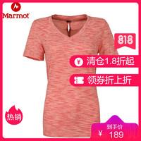 Marmot/土拨鼠新款户外女速干排汗V领透气T恤_S48420