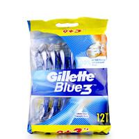 美国 吉列Blue3男士手动剃须刀12支装 香港直邮3层刀片