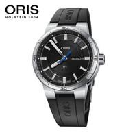 豪利时(ORIS)瑞士手表 赛车运动系列日历腕表 42mm黑盘胶带自动机械男表 73577524154RS