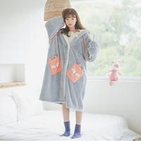 纯帕 CP181120 女士法兰绒加厚睡衣