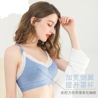Nan ji ren 南极人 哺乳文胸精梳棉 无钢圈 聚拢胸罩 大码 夏季薄款  蕾丝蓝色  L