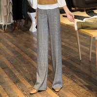 一塘晨2019秋装新款女装英伦格子气质流行时尚高腰长款阔腿休闲裤 S93B4383KA2224L 灰色格纹L *3件