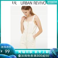 UR2019夏季新品女装休闲车线纽扣吊带牛仔连身裤WH22SBKE2018