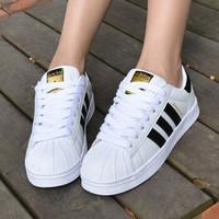 adidas Originals SUPERSTAR 男女款金标贝壳头休闲鞋