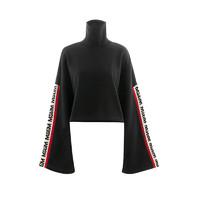 MSGM 黑色袖边logo联名款女士长袖卫衣 *2件