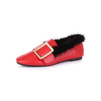 澳洲Everugg 时尚小羊皮大毛领金属环扣舒适透气单鞋女鞋子11688 Tia
