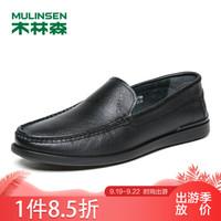 木林森(MULINSEN)商务休闲鞋 舒适百搭男鞋牛皮套脚休闲皮鞋男驾车豆豆鞋 黑色 40码 SS87108