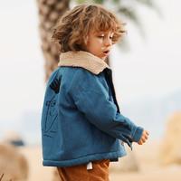 印象童年 儿童冬装加厚牛仔棉袄外套