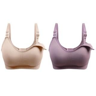 莱香约 哺乳文胸  聚拢防下垂 上托  无钢圈  全罩杯  薄款夏季 肤色+紫色 XL Y7066