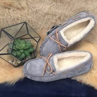 OZLANA UGG 羊皮毛一体防水保暖豆豆鞋 灰色