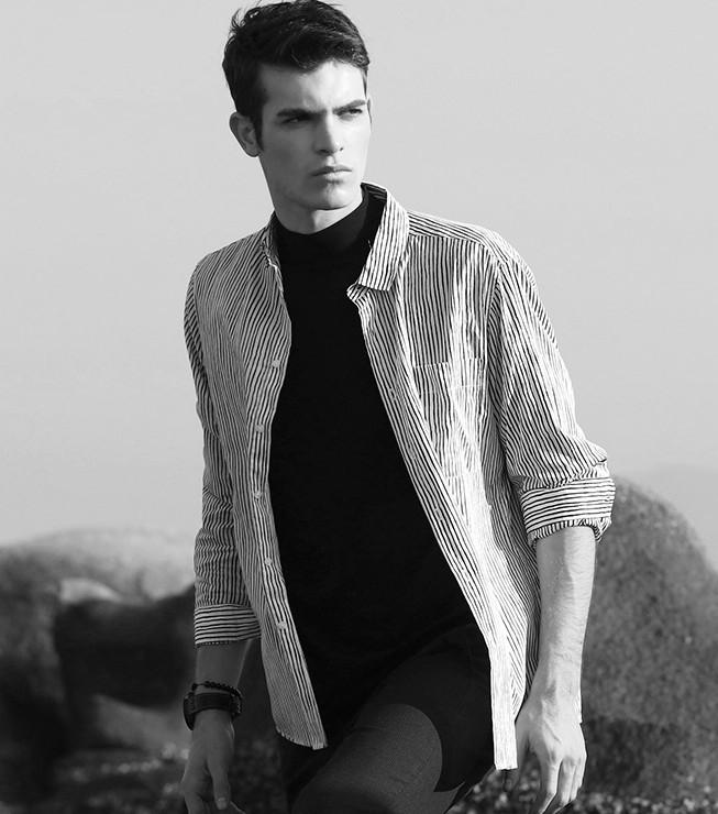 InteRight 男士条纹长袖衬衫