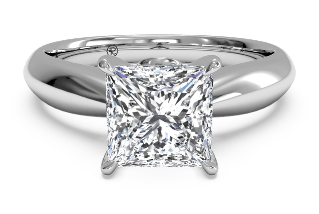 Ritani 14k白金 公主方形钻石订婚戒指0.3克拉