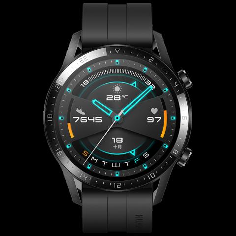 HUAWEI 华为 WATCH GT 2 运动款 智能手表 46mm 黑色表盘 曜石黑橡胶表带(血氧、GPS、扬声器)