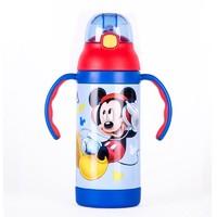 迪士尼(Disney)幼儿童吸管保温水杯 男女童宝宝手柄背带两用喝 幼儿园饮水杯耐摔学饮杯米奇蓝色 380ML