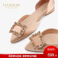 HARSON 哈森 HM97107 尖头织物水钻饰扣低跟单鞋